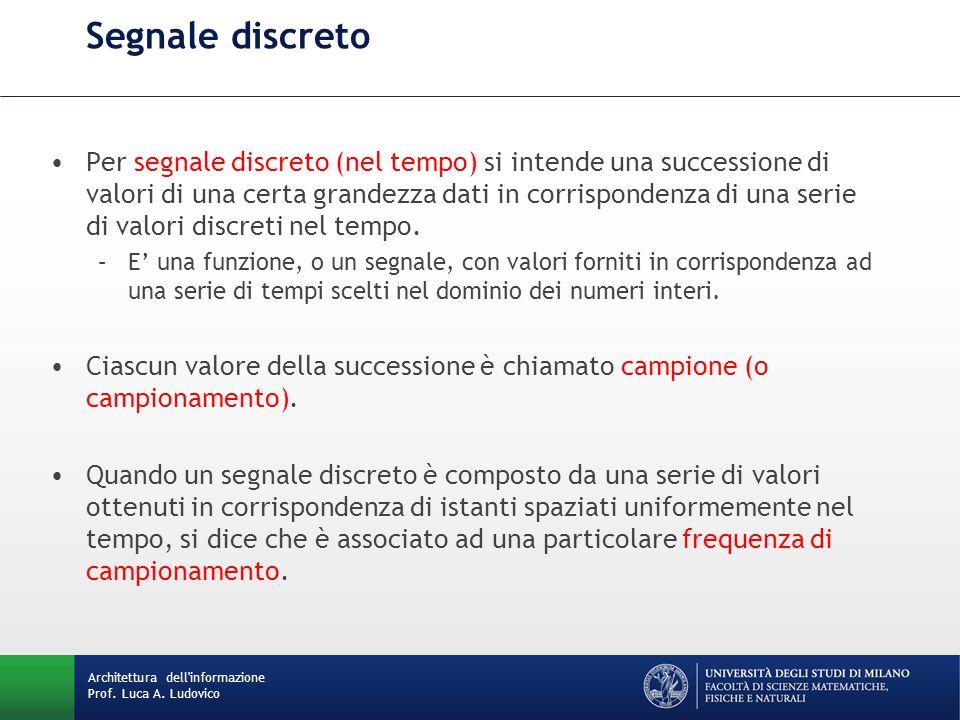 Architettura dell'informazione Prof. Luca A. Ludovico Segnale discreto Per segnale discreto (nel tempo) si intende una successione di valori di una ce