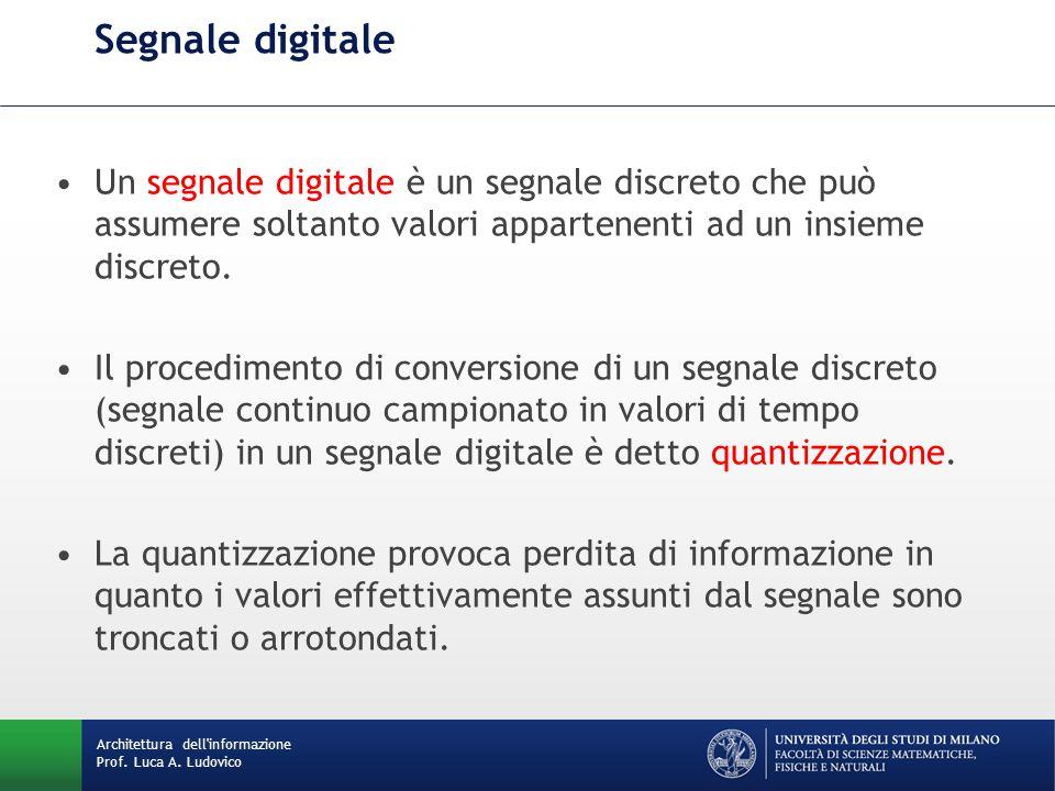 Architettura dell'informazione Prof. Luca A. Ludovico Segnale digitale Un segnale digitale è un segnale discreto che può assumere soltanto valori appa