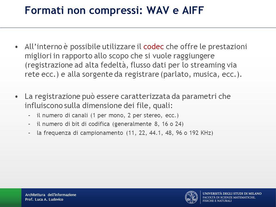 Architettura dell'informazione Prof. Luca A. Ludovico Formati non compressi: WAV e AIFF All'interno è possibile utilizzare il codec che offre le prest