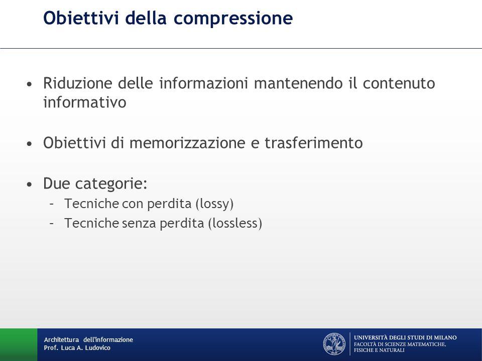 Architettura dell'informazione Prof. Luca A. Ludovico Obiettivi della compressione Riduzione delle informazioni mantenendo il contenuto informativo Ob