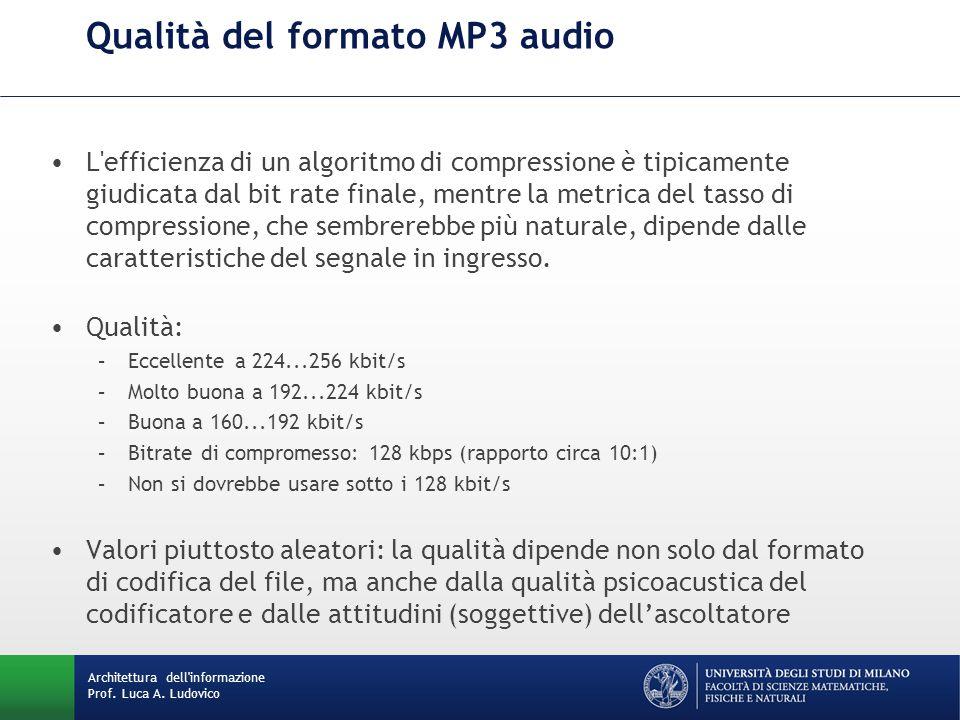Architettura dell'informazione Prof. Luca A. Ludovico Qualità del formato MP3 audio L'efficienza di un algoritmo di compressione è tipicamente giudica