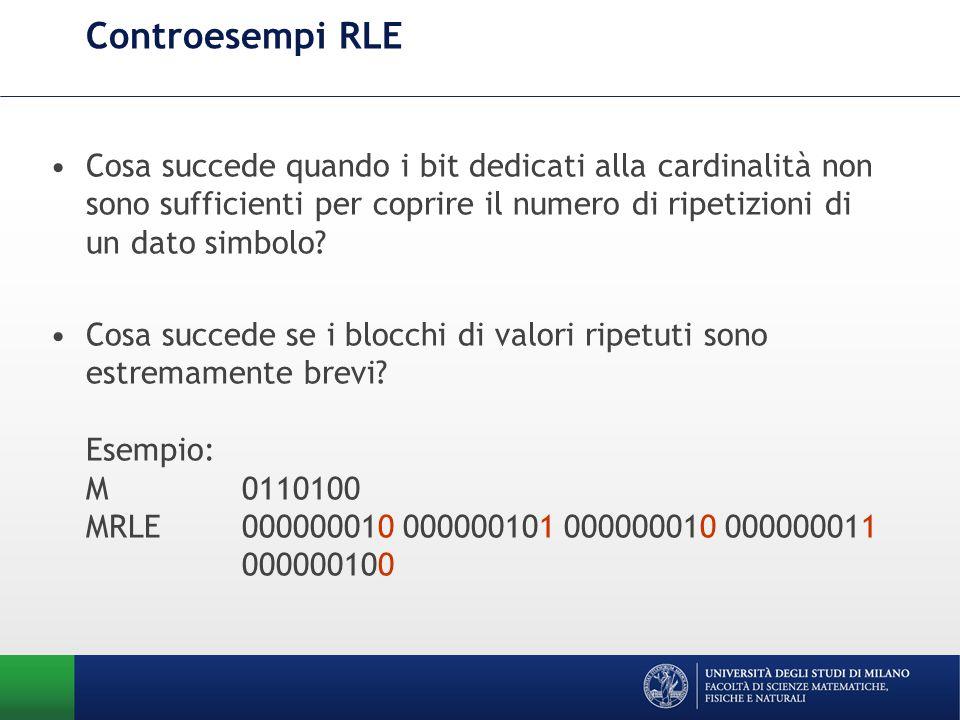 Controesempi RLE Cosa succede quando i bit dedicati alla cardinalità non sono sufficienti per coprire il numero di ripetizioni di un dato simbolo.