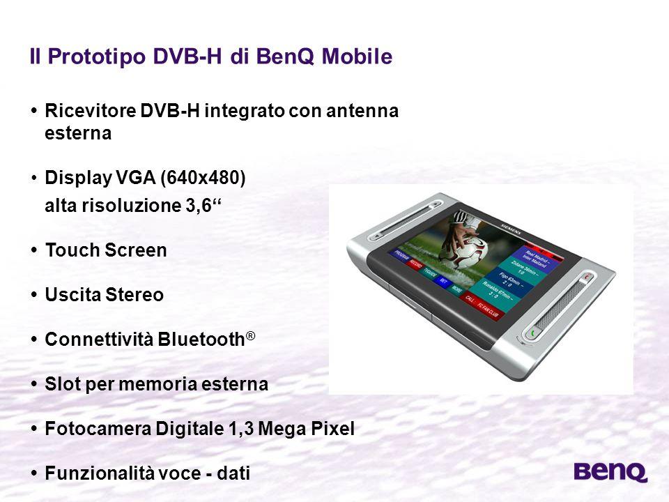 Il Prototipo DVB-H di BenQ Mobile Ricevitore DVB-H integrato con antenna esterna Display VGA (640x480) alta risoluzione 3,6'' Touch Screen Uscita Stereo Connettività Bluetooth ® Slot per memoria esterna Fotocamera Digitale 1,3 Mega Pixel Funzionalità voce - dati