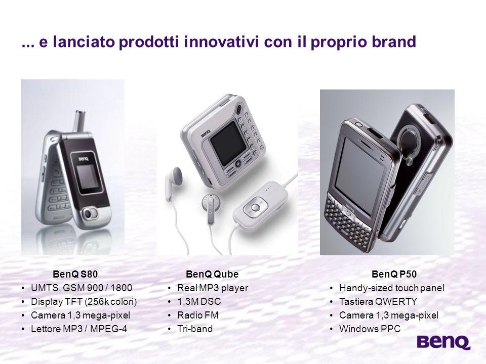 ... e lanciato prodotti innovativi con il proprio brand BenQ S80 UMTS, GSM 900 / 1800 Display TFT (256k colori) Camera 1,3 mega-pixel Lettore MP3 / MP