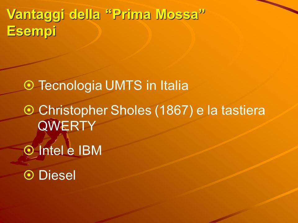 """Vantaggi della """"Prima Mossa"""" Esempi  Tecnologia UMTS in Italia  Christopher Sholes (1867) e la tastiera QWERTY  Intel e IBM  Diesel"""