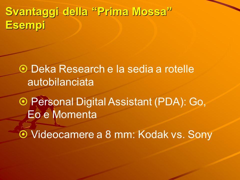 """Svantaggi della """"Prima Mossa"""" Esempi  Deka Research e la sedia a rotelle autobilanciata  Personal Digital Assistant (PDA): Go, Eo e Momenta  Videoc"""
