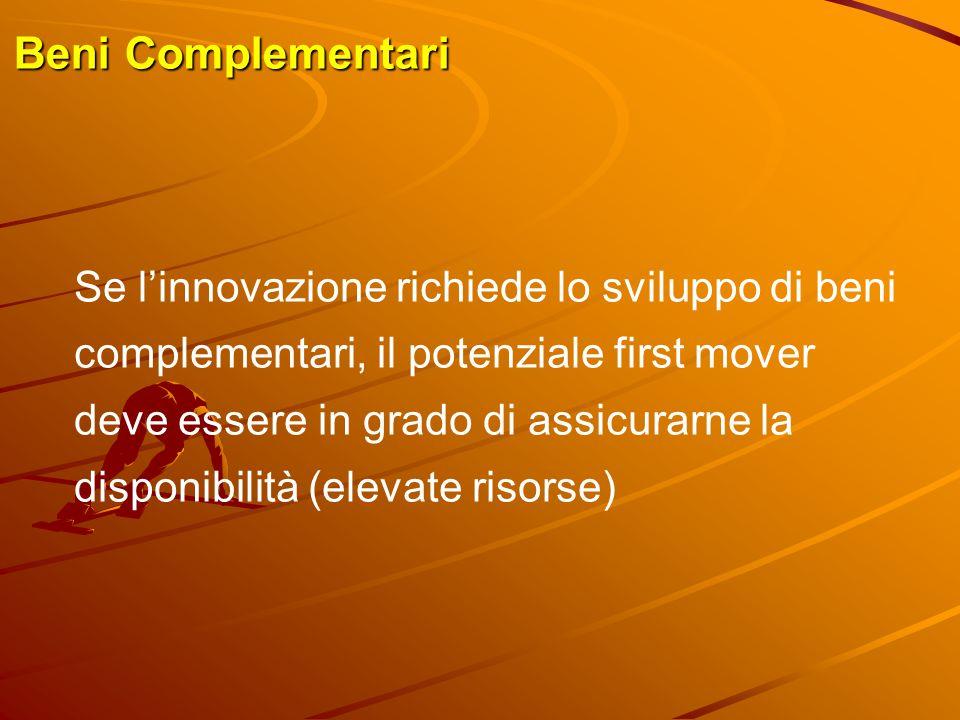 Beni Complementari Se l'innovazione richiede lo sviluppo di beni complementari, il potenziale first mover deve essere in grado di assicurarne la dispo