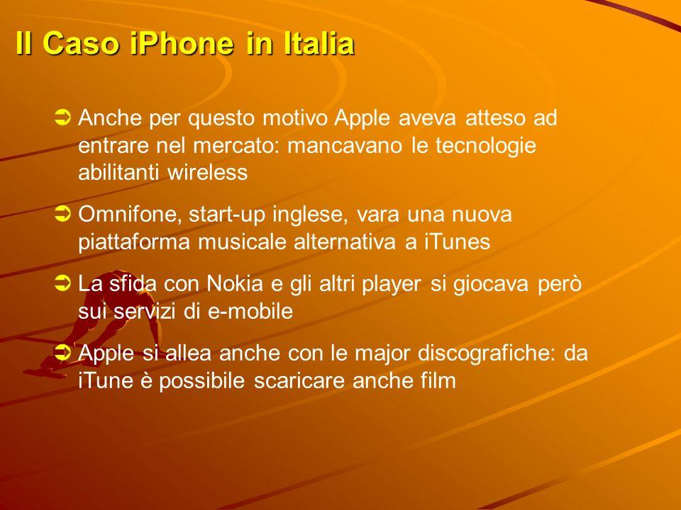 Il Caso iPhone in Italia  Anche per questo motivo Apple aveva atteso ad entrare nel mercato: mancavano le tecnologie abilitanti wireless  Omnifone,