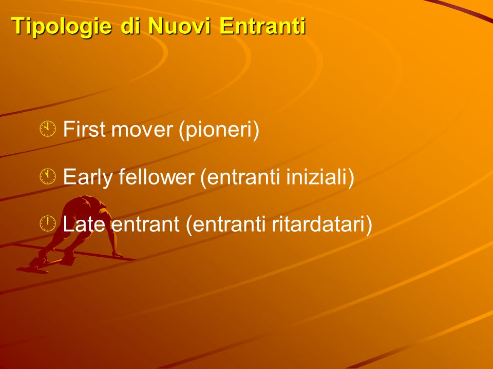 Tipologie di Nuovi Entranti  First mover (pioneri)  Early fellower (entranti iniziali)  Late entrant (entranti ritardatari)