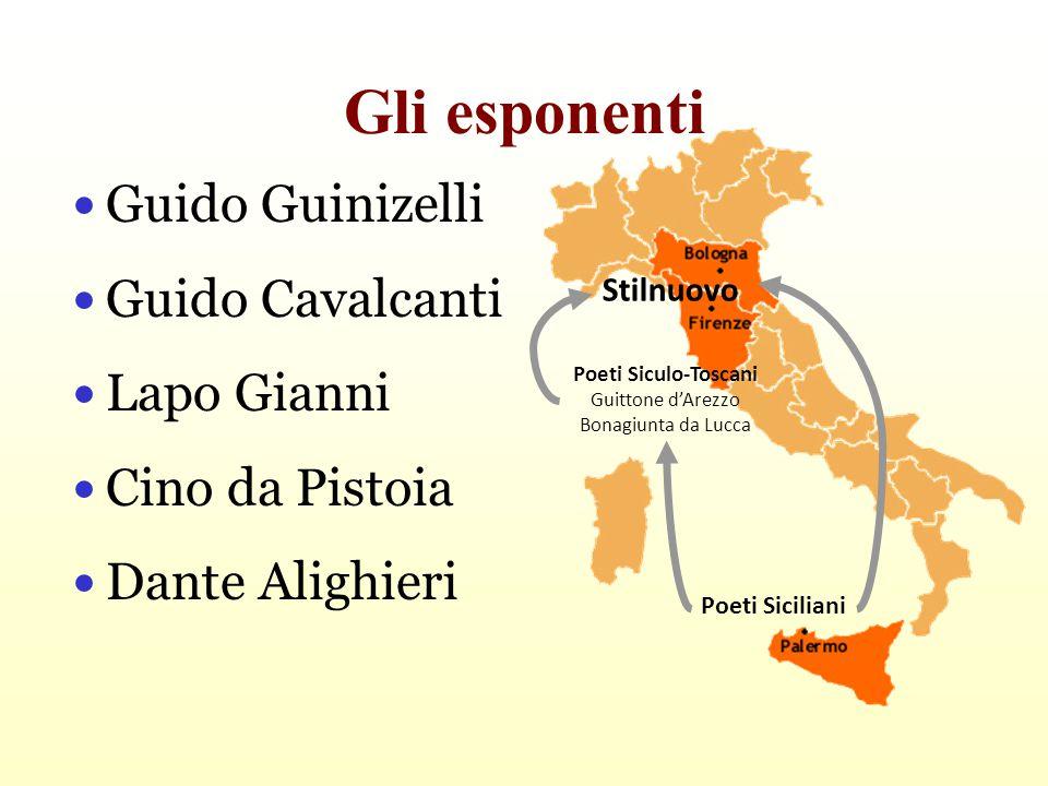 Gli esponenti Guido Guinizelli Guido Cavalcanti Lapo Gianni Cino da Pistoia Dante Alighieri Poeti Siciliani Poeti Siculo-Toscani Guittone d'Arezzo Bon