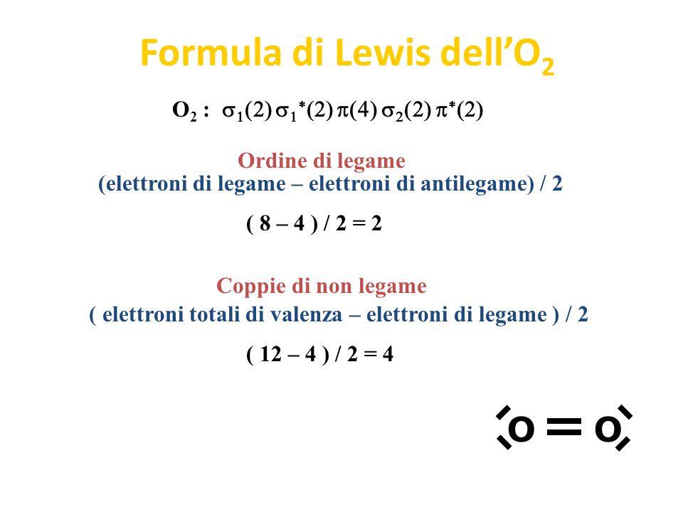 Orbitali molecolari dell'O 2        O 2 :          