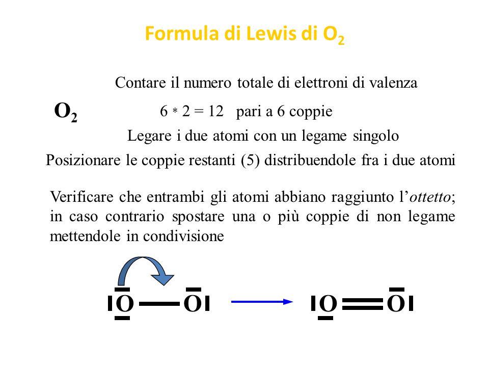 Regole semplificate per formule di Lewis F2F2 Legare i due atomi con un legame singolo F Contare il numero totale di elettroni di valenza 7 * 2 = 14 pari a 7 coppie Posizionare le coppie restanti (6) distribuendole equamente fra i due atomi Verificare che entrambi gli atomi abbiano raggiunto l'ottetto