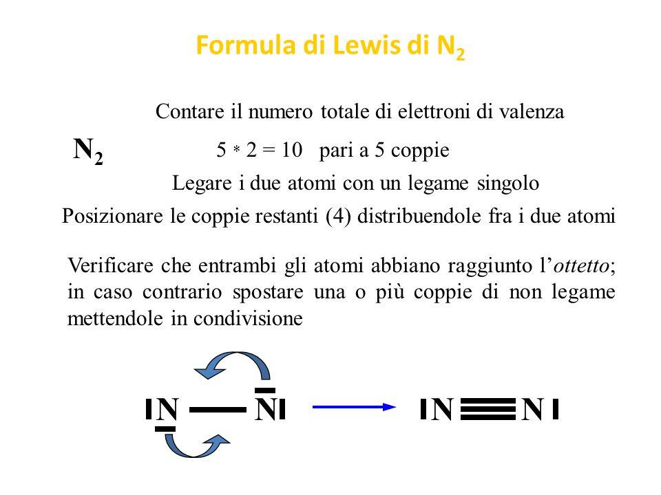 Formula di Lewis di O 2 O2O2 Legare i due atomi con un legame singolo O Contare il numero totale di elettroni di valenza 6 * 2 = 12 pari a 6 coppie Posizionare le coppie restanti (5) distribuendole fra i due atomi Verificare che entrambi gli atomi abbiano raggiunto l'ottetto; in caso contrario spostare una o più coppie di non legame mettendole in condivisione O