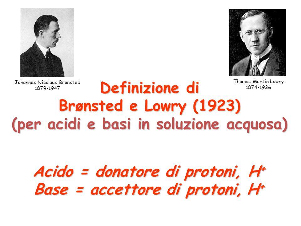 Insufficienza della definizione di Arrhenius: Molte basi, come per esempio l'ammoniaca, NH 3, non possono formare OH - (aq) per dissociazione elettrolitica.