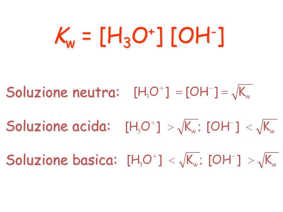 2 H 2 O(l) ⇄ H 3 O + (aq) + OH - (aq) A 25°C si ha K w = 10 -14 Soluzione neutra: [H 3 O + ] = [OH - ] Soluzione acida: [H 3 O + ] > [OH - ] Soluzione