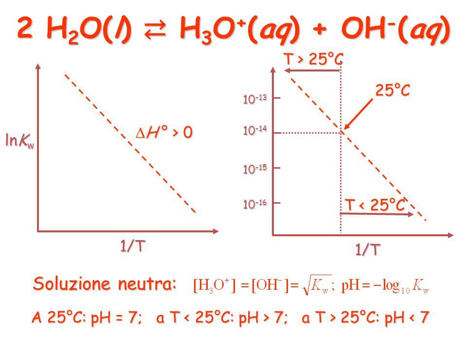 H 3 O + (aq) + OH - (aq) ⇄ 2 H 2 O(l) 2 H 2 O(l) ⇄ H 3 O + (aq) + OH - (aq)  H ° < 0  H ° > 0