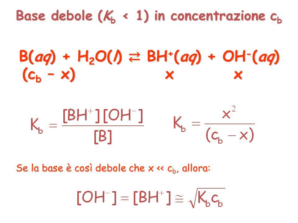 Acido debole (K a < 1) in concentrazione c a HA(aq) + H 2 O(l) ⇄ A - (aq) + H 3 O + (aq) (c a – x) x x (c a – x) x x Se l'acido è così debole che x << c a, allora: