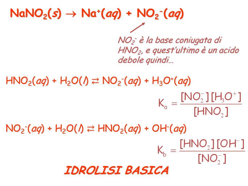 NaCl(s)  Na + (aq) + Cl - (aq) Cl - è la base coniugata di HCl, ma quest'ultimo è un acido così forte che Cl - è una base con forza praticamente nulla IDROLISI DEI SALI (reazioni acido-base degli ioni formati per dissociazione elettrolitica) in acqua non dà reazioni acido-base