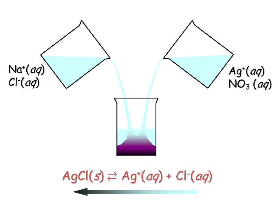 Na + (aq) Cl - (aq) Ag + (aq) NO 3 - (aq)