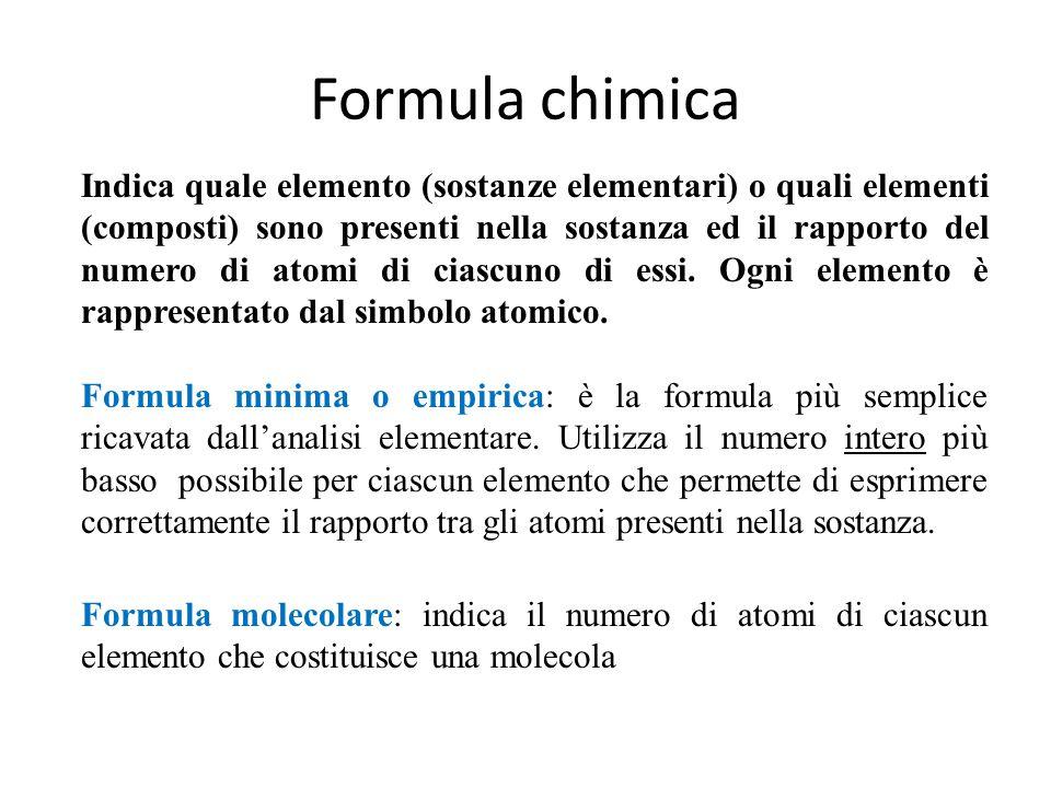 Formule chimiche delle sostanze pure