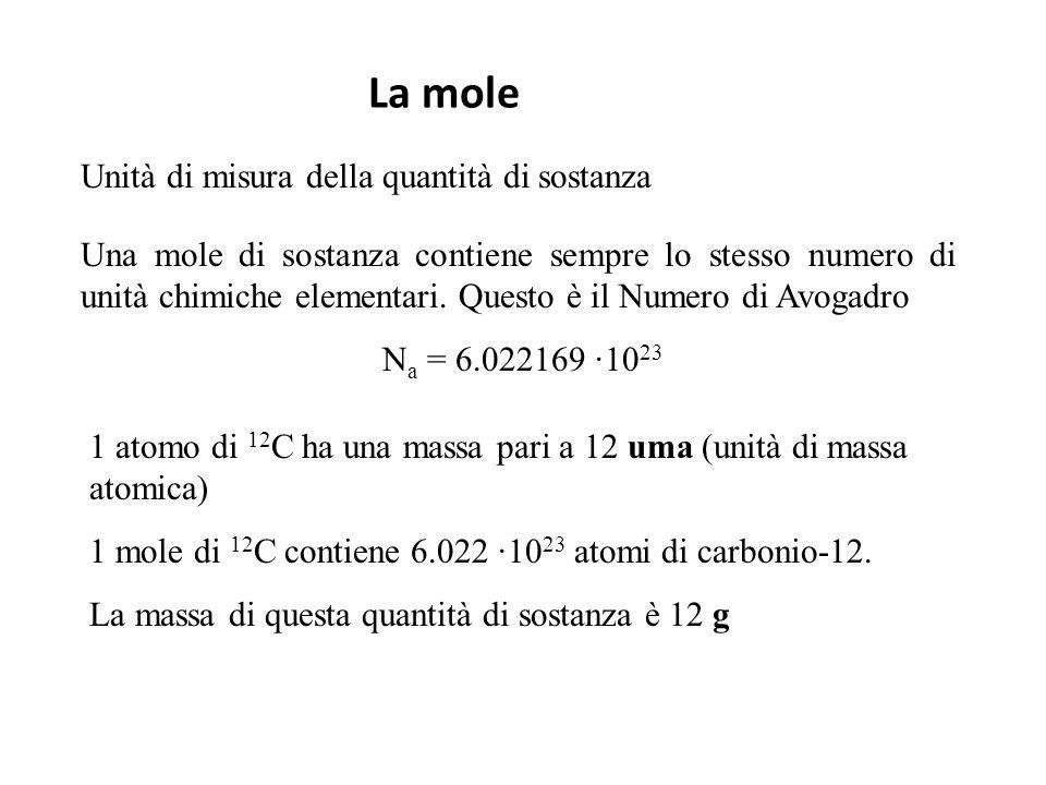 Quantità di sostanza e concetto di mole N A = 6,022∙10 23