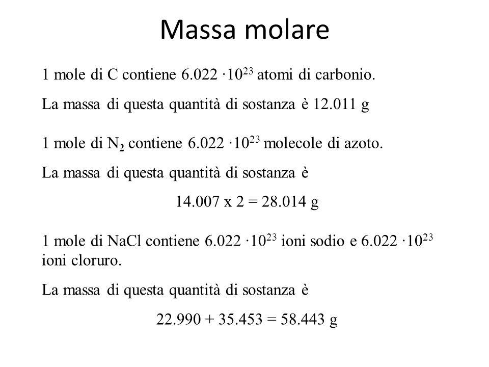 Unità di misura della quantità di sostanza Una mole di sostanza contiene sempre lo stesso numero di unità chimiche elementari. Questo è il Numero di A