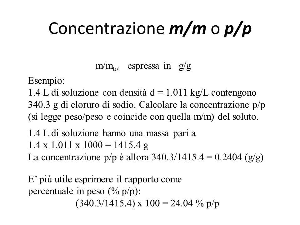 Concentrazione Rapporto tra la quantità di sostanza per un determinato componente di una miscela e la quantità totale di miscela. E' usata anche per l