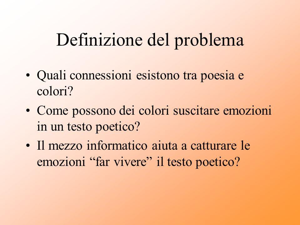 Definizione del problema Quali connessioni esistono tra poesia e colori? Come possono dei colori suscitare emozioni in un testo poetico? Il mezzo info