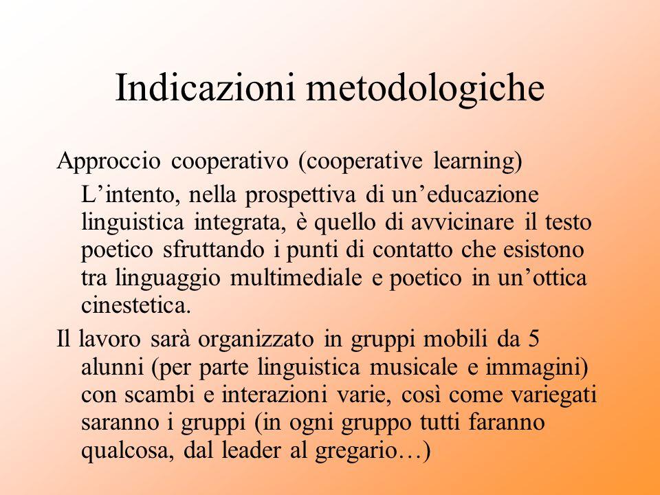 Indicazioni metodologiche Approccio cooperativo (cooperative learning) L'intento, nella prospettiva di un'educazione linguistica integrata, è quello d