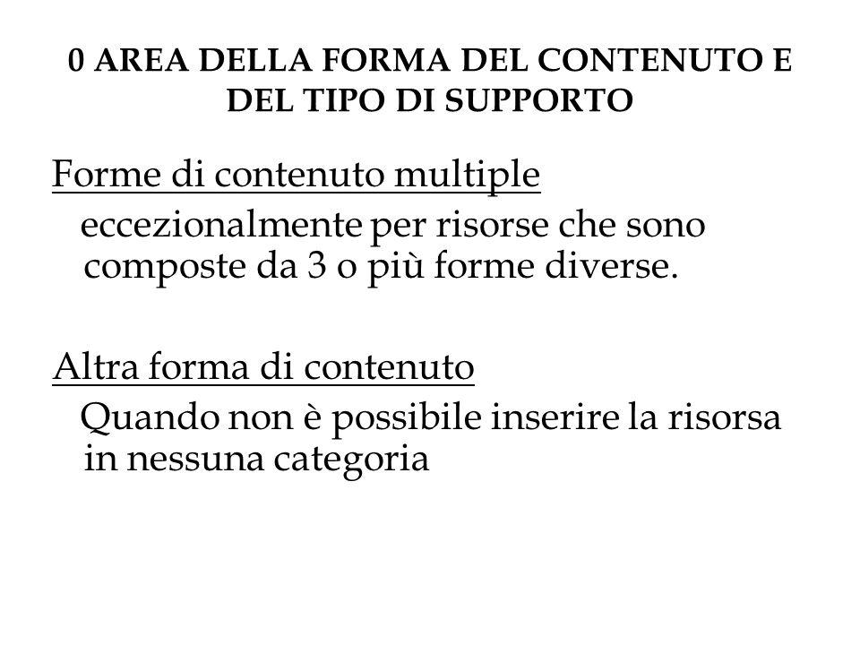 0 AREA DELLA FORMA DEL CONTENUTO E DEL TIPO DI SUPPORTO Forme di contenuto multiple eccezionalmente per risorse che sono composte da 3 o più forme diverse.