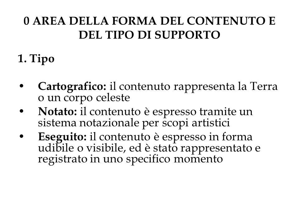0 AREA DELLA FORMA DEL CONTENUTO E DEL TIPO DI SUPPORTO 1.