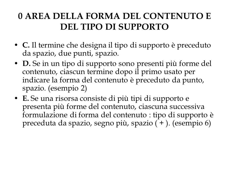 0 AREA DELLA FORMA DEL CONTENUTO E DEL TIPO DI SUPPORTO C.