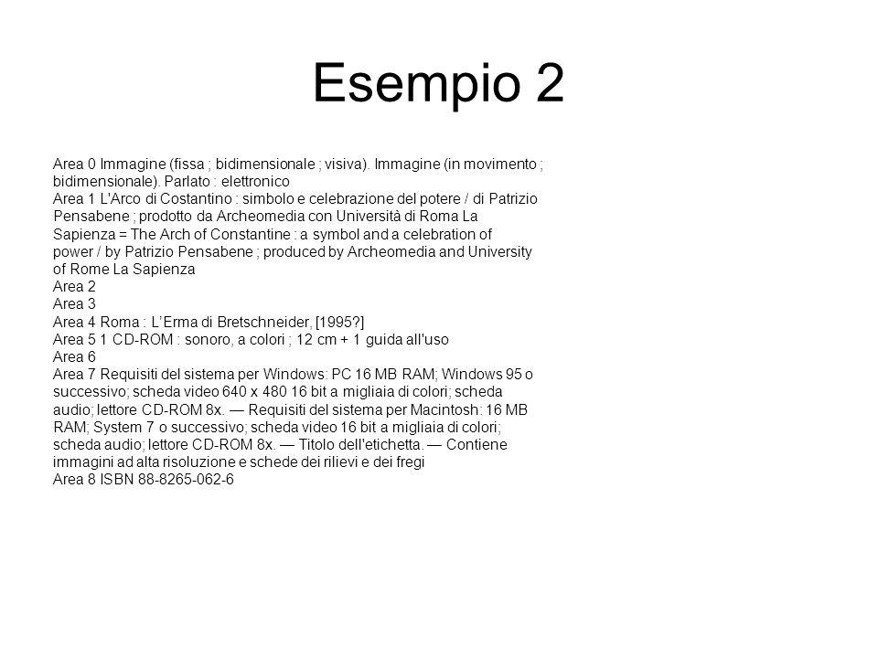 Esempio 2 Area 0 Immagine (fissa ; bidimensionale ; visiva).
