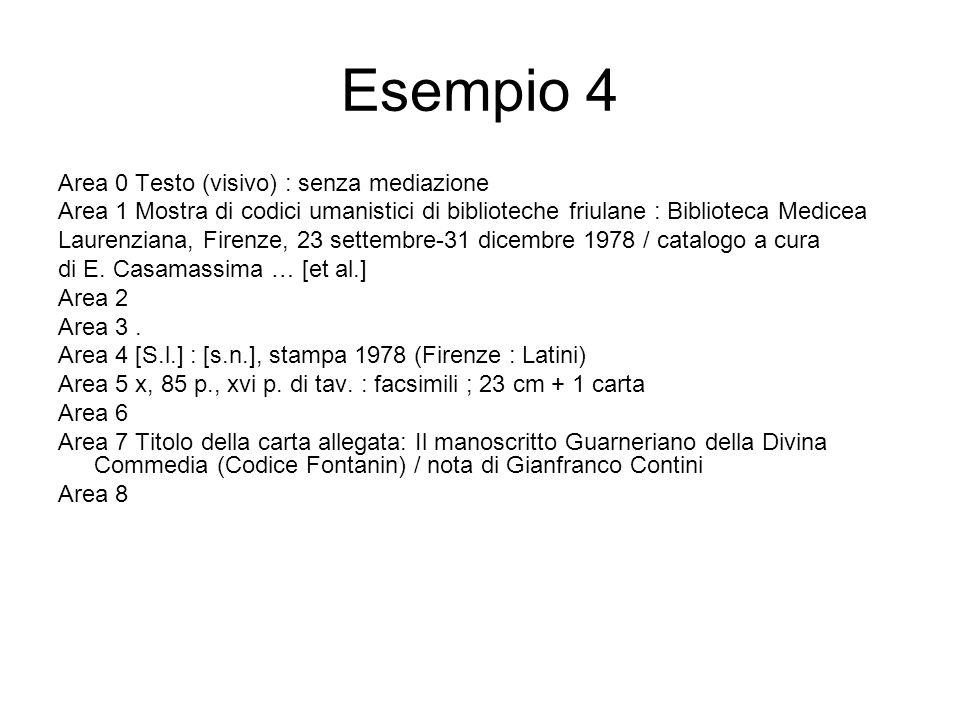 Esempio 4 Area 0 Testo (visivo) : senza mediazione Area 1 Mostra di codici umanistici di biblioteche friulane : Biblioteca Medicea Laurenziana, Firenze, 23 settembre-31 dicembre 1978 / catalogo a cura di E.