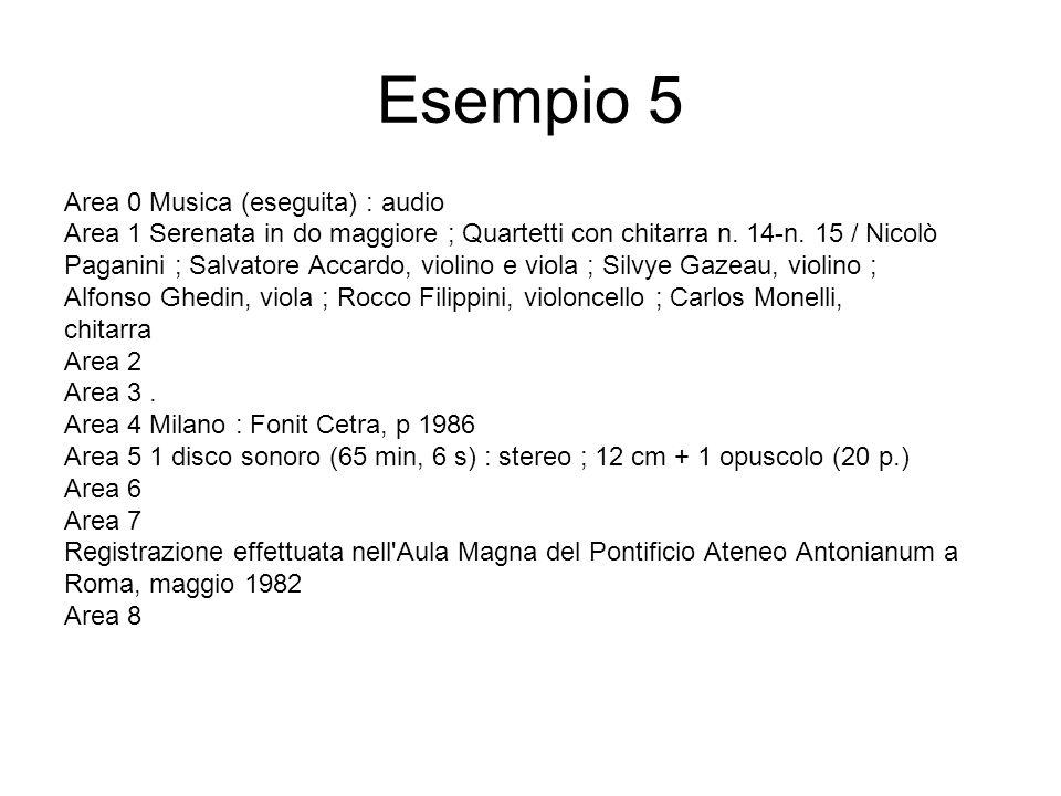 Esempio 5 Area 0 Musica (eseguita) : audio Area 1 Serenata in do maggiore ; Quartetti con chitarra n.