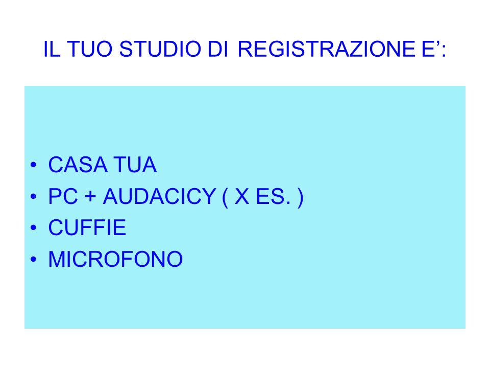 IL TUO STUDIO DI REGISTRAZIONE E': CASA TUA PC + AUDACICY ( X ES. ) CUFFIE MICROFONO