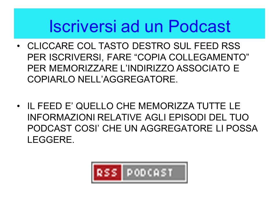 Iscriversi ad un Podcast CLICCARE COL TASTO DESTRO SUL FEED RSS PER ISCRIVERSI, FARE COPIA COLLEGAMENTO PER MEMORIZZARE L'INDIRIZZO ASSOCIATO E COPIARLO NELL'AGGREGATORE.