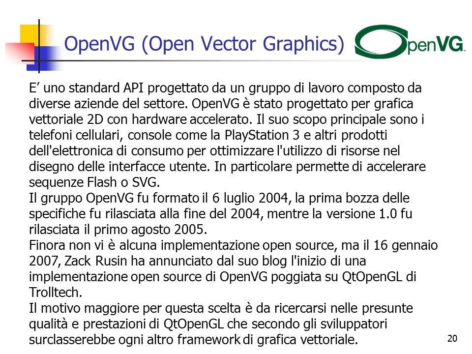 20 OpenVG (Open Vector Graphics) E' uno standard API progettato da un gruppo di lavoro composto da diverse aziende del settore.
