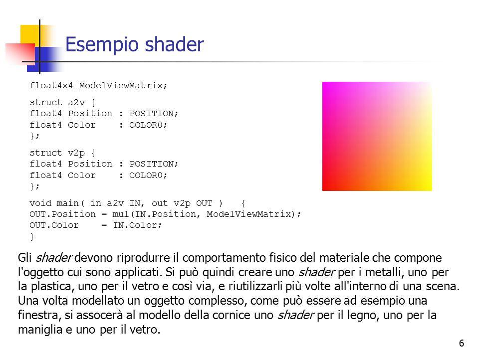 7 Altri cambiamenti Cambiamenti in D3DX Molte funzioni e classi sugli shader (D3DXCompileShaderFromFile, D3DXAssembleShaderFromFile) sono state passate da D3DX a D3D, cioè sono passate dalla libreria ausiliaria a quella principale.
