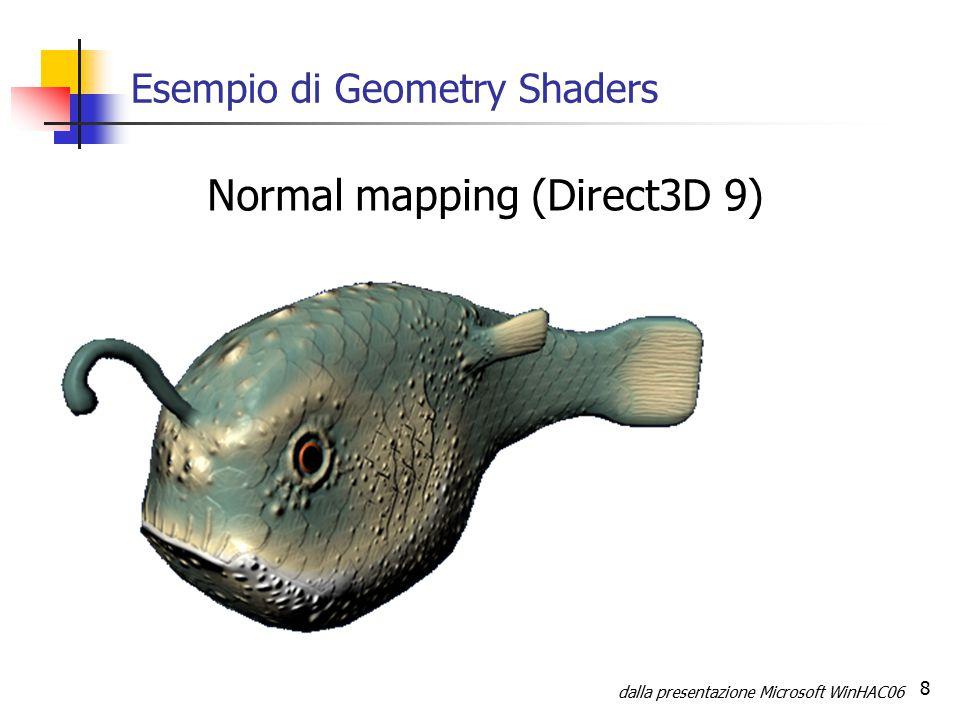 9 Esempio di Geometry Shaders (2) Displacement Mapping (Direct3D 10) dalla presentazione Microsoft WinHAC06