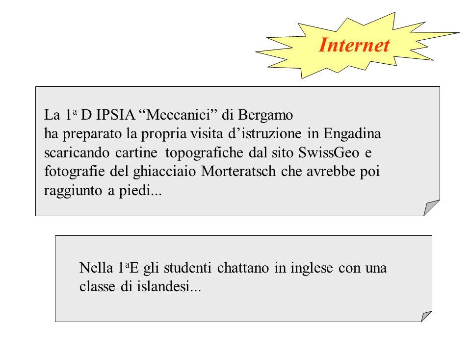La 1 a D IPSIA Meccanici di Bergamo ha preparato la propria visita d'istruzione in Engadina scaricando cartine topografiche dal sito SwissGeo e fotografie del ghiacciaio Morteratsch che avrebbe poi raggiunto a piedi...
