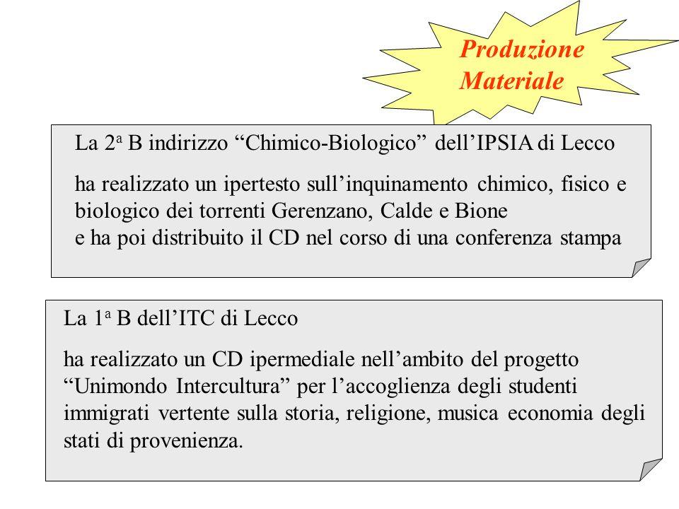 La 2 a B indirizzo Chimico-Biologico dell'IPSIA di Lecco ha realizzato un ipertesto sull'inquinamento chimico, fisico e biologico dei torrenti Gerenzano, Calde e Bione e ha poi distribuito il CD nel corso di una conferenza stampa La 1 a B dell'ITC di Lecco ha realizzato un CD ipermediale nell'ambito del progetto Unimondo Intercultura per l'accoglienza degli studenti immigrati vertente sulla storia, religione, musica economia degli stati di provenienza.