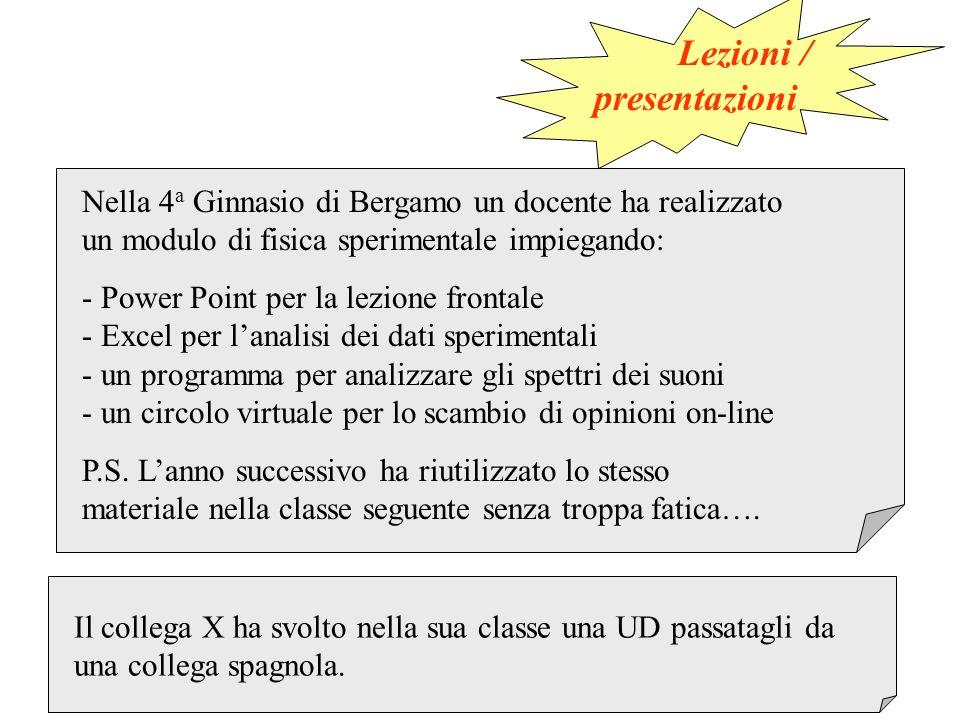 Lezioni / presentazioni Nella 4 a Ginnasio di Bergamo un docente ha realizzato un modulo di fisica sperimentale impiegando: - Power Point per la lezio