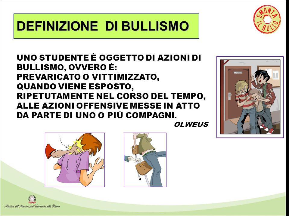 DEFINIZIONE DI BULLISMO UNO STUDENTE È OGGETTO DI AZIONI DI BULLISMO, OVVERO È: PREVARICATO O VITTIMIZZATO, QUANDO VIENE ESPOSTO, RIPETUTAMENTE NEL CO