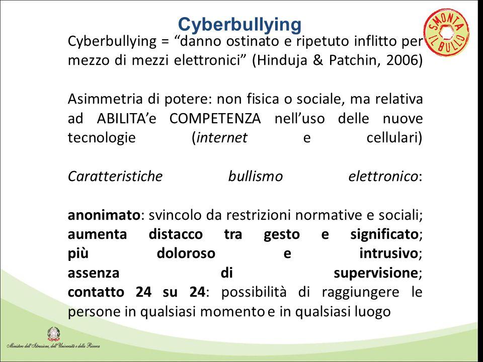 """Cyberbullying = """"danno ostinato e ripetuto inflitto per mezzo di mezzi elettronici"""" (Hinduja & Patchin, 2006) Asimmetria di potere: non fisica o socia"""