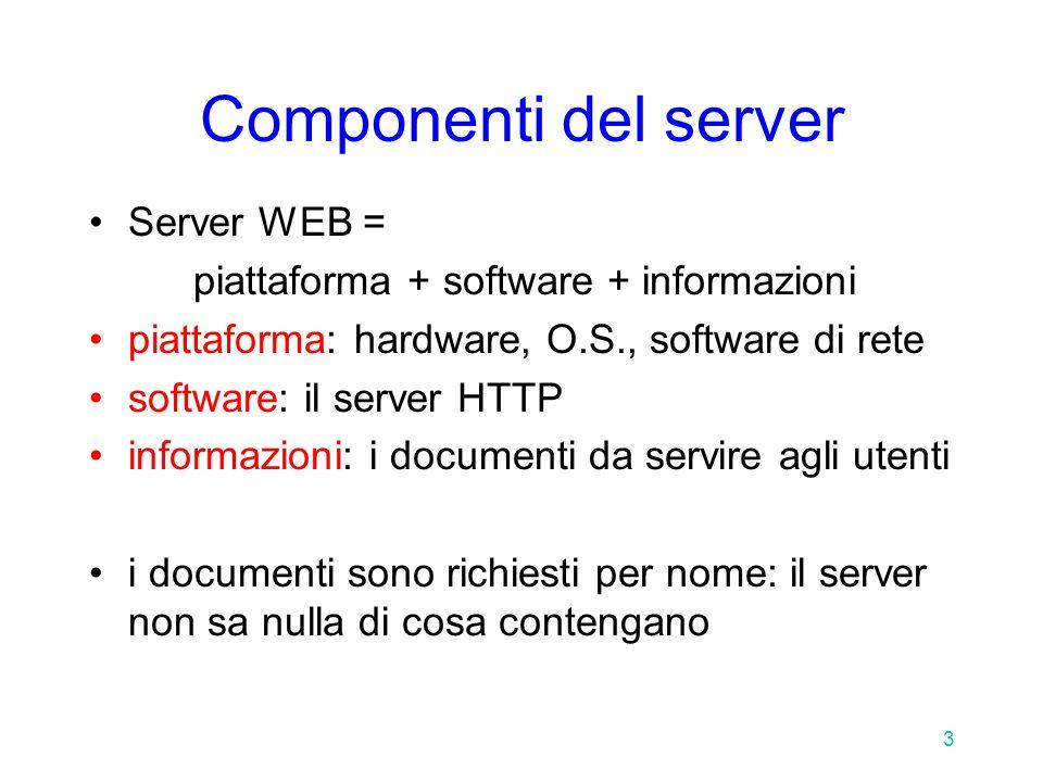 3 Componenti del server Server WEB = piattaforma + software + informazioni piattaforma: hardware, O.S., software di rete software: il server HTTP informazioni: i documenti da servire agli utenti i documenti sono richiesti per nome: il server non sa nulla di cosa contengano