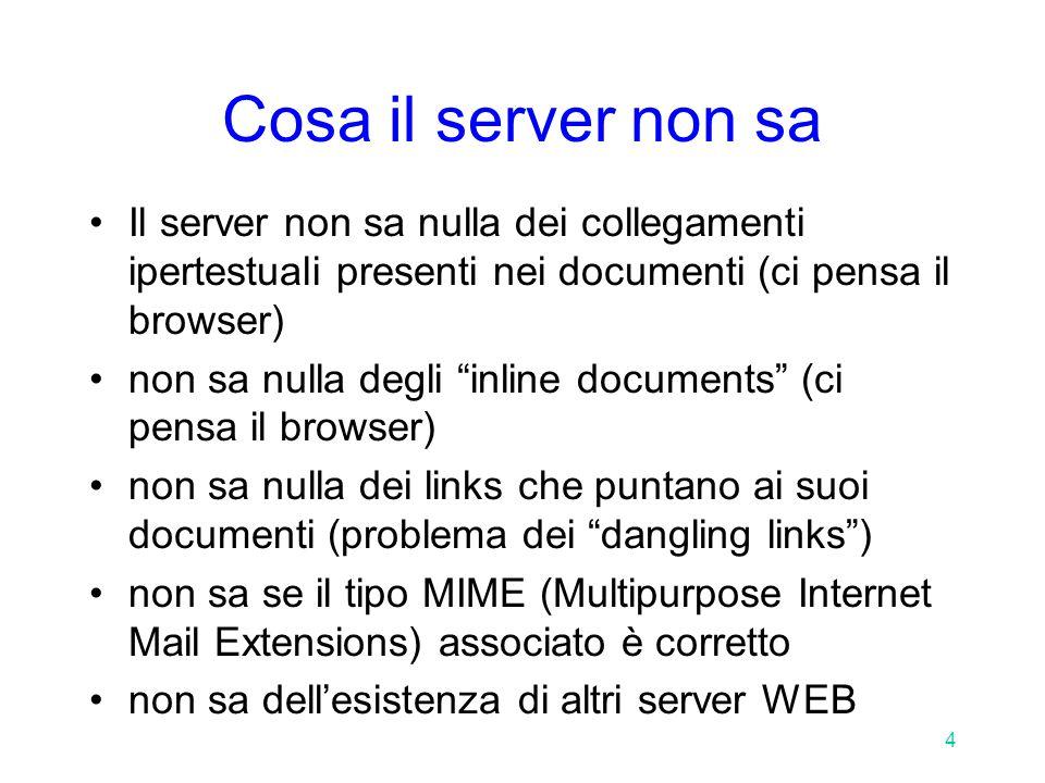 15 Il protocollo HTTP: la risposta Il campo Content-type della risposta, così come il campo Accept della richiesta, è codificato secondo i tipi MIME –vedi libro, tavola 2.6 pag.