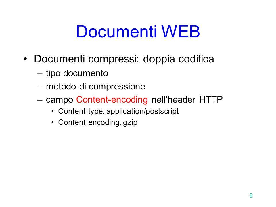 9 Documenti WEB Documenti compressi: doppia codifica –tipo documento –metodo di compressione –campo Content-encoding nell'header HTTP Content-type: application/postscript Content-encoding: gzip