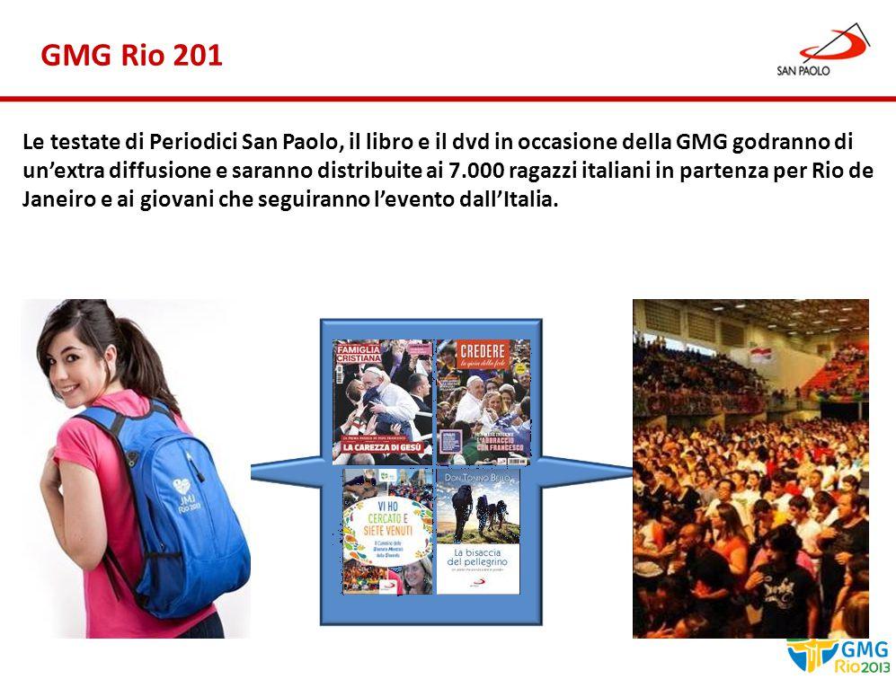 Benessere Gennaio 2013 GMG Rio 201 Le testate di Periodici San Paolo, il libro e il dvd in occasione della GMG godranno di un'extra diffusione e saranno distribuite ai 7.000 ragazzi italiani in partenza per Rio de Janeiro e ai giovani che seguiranno l'evento dall'Italia.
