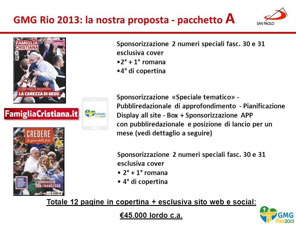 Benessere Gennaio 2013 GMG Rio 2013: la nostra proposta - pacchetto A Sponsorizzazione 2 numeri speciali fasc.